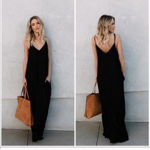 Black boho pocket maxi dress